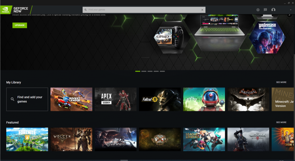 The GeForce NOW cloud gaming client
