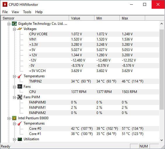 HWMonitor CPU, voltage and temperature monitor