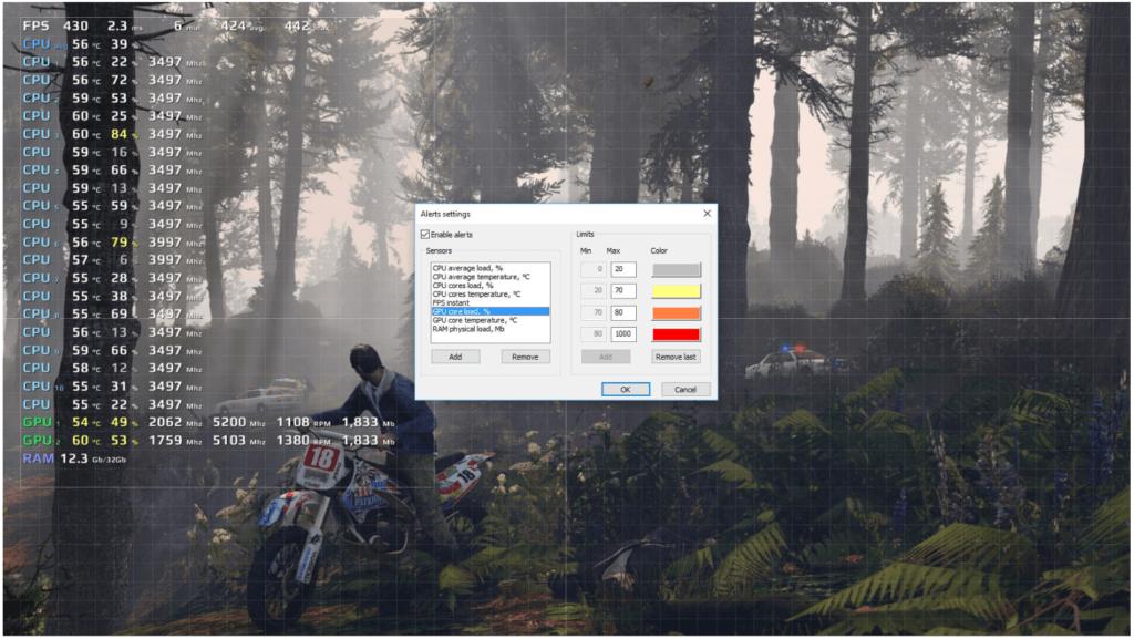 FPS Monitor CPU and temp monitoring